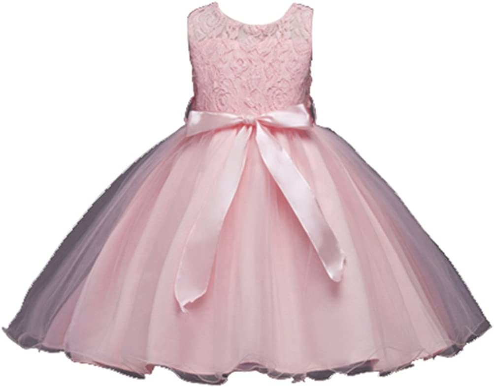 Star Flower Girl's Wedding Princess Lace Tulle Ball Gown Puff Dress for Kids
