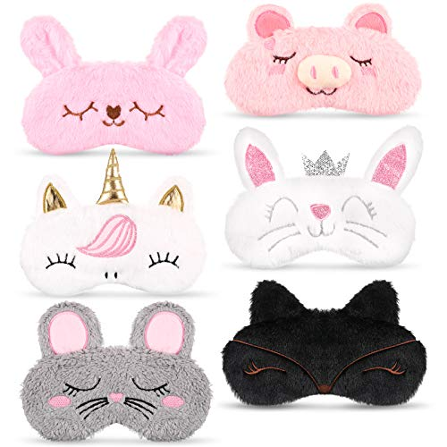 Boyiee 6 Pieces Cute Animal Eye Masks for Girls, Soft Sleeping Masks Blindfold Mask Plush Eyeshade Cover, Pink Rabbits, Cute Pigs, Unicorns, Cats Pattern for Airplane Travel Nap Overnight Party Favor