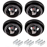 Maxesla Kamera Attrappe 4PCS Kamera Dummy Fake Überwachungskamera Attrappe Dome Täuschend Echt Indoor Outdoor Fake Sicherheitskamera mit LED Licht Überwachung Haus Sicherheit Security