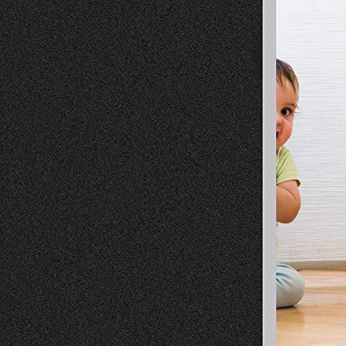 Rwest X Fensterfolie Selbsthaftend Blickdicht Sichtschutzfolie Fenster Milchglasfolie Statische Fensterfolien Anti-UV Folie Für Zuhause Badzimmer oder Büro,Schwarz,45 X 200 CM