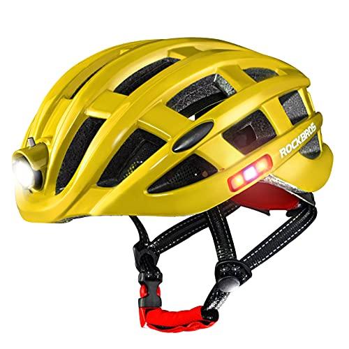 ROCKBROS Casco con Luz Inteligente para Ciclismo Carga USB Impermeable Seguridad Advertencia Transpirable 57-62cm para Bicicleta MTB Bici de Carretera para Hombre y Mujer (Amarillo)