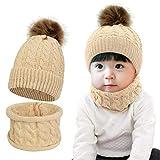 Tuopuda Sombrero para Niños Y Niñas Bufanda Conjunto Slouchy Invierno Grueso Bebe Beanie Gorros con Pompon Y Bufanda de Punto Cuello Redondo para 0-24 Meses Niña Niño