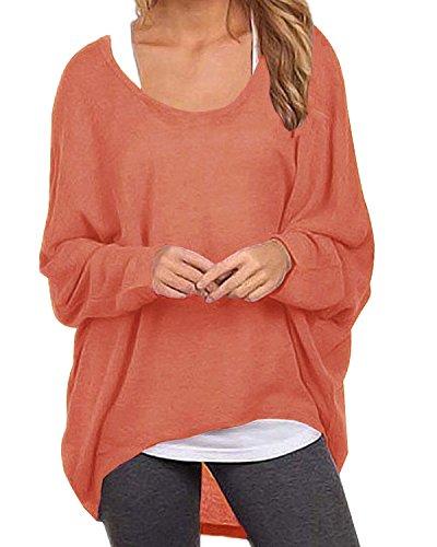ZANZEA ZANZEA Damen Lose Asymmetrisch Jumper Sweatshirt Pullover Bluse Oberteile Oversize Tops Y-orange EU 50/Etikettgröße 3XL