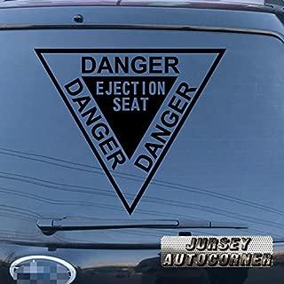Jursey Auto Danger Ejection Seat Decal Sticker Vinyl pick size color die cut no background (black, 4'' (10.2cm))