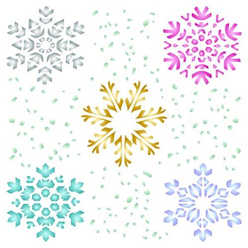 Snowflake stencil–riutilizzabili Christmas stencil template per progetti fai da te Cards Decorations–da usare su carta scrapbook Bullet Gazzetta muri pavimenti tessuto mobili in vetro legno ecc.