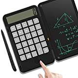 IVSUN Calculator, Rechargeable Multifunction Desktop Calculator Notepad with 12 Dights LCD Display and 6 Inches Erasable Writing Board, E-Pen - for School Home Office (Black)