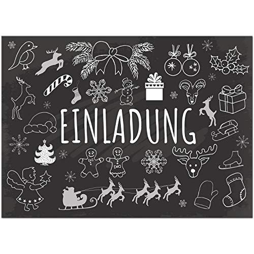 15 x Einladungskarten mit Umschlag zur Weihnachtsfeier/Motiv: Tafel Look Symbole/Weihnachten/Christmas Party/Einladung/für Firmen
