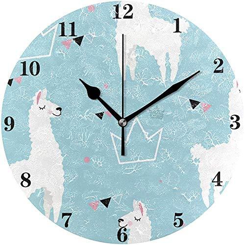 Belle Lamas Alpaga Fond Horloge Murale Silencieux Non Ticking Fonctionné sur Batterie Horloge Créative Décorative Mur Ronde Horloge