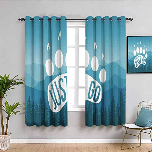 Retro Poster Decor Room Darkened Curtain Inspirational Just Go Motivational Cotización sobre Montañas Gráfico de 2 paneles Sets azul blanco W108 x L84 pulgadas