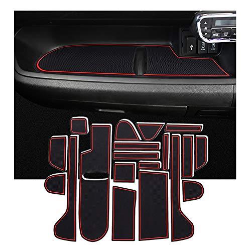 RUIYA ホンダN-BOX JF3 JF4車種専用設計 ノンスリップマット ハンドデザイン 騒音防止 ゴムマット ドアポケットマット コンソールマット 内装パーツ ドレスアップパーツ 滑り止めマット 赤/白 (レッド)