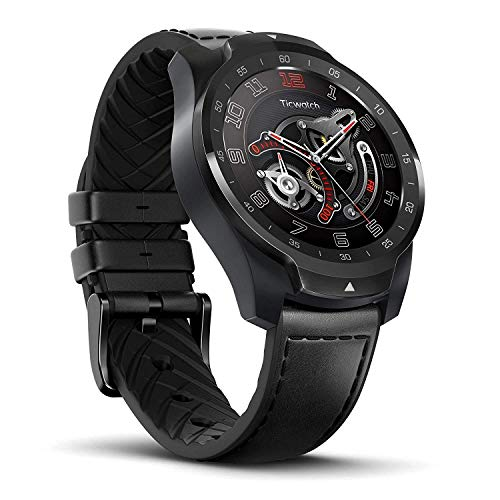 Ticwatch Pro Smartwatch with Layered Display for Long Battery Life, Sleep Tracking, NFC, GPS, Heart Rate Monitor, Wear OS by Google, Sports Watch Compatible with Android and IOS, Leather Strap, Black