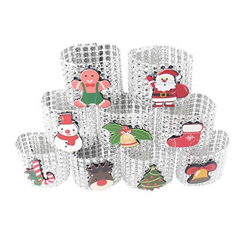 Amosfun 9pcs Anillo de servilleta de Mesa de Navidad decoración de Navidad muñeco de Nieve de Santa Titular servilleta