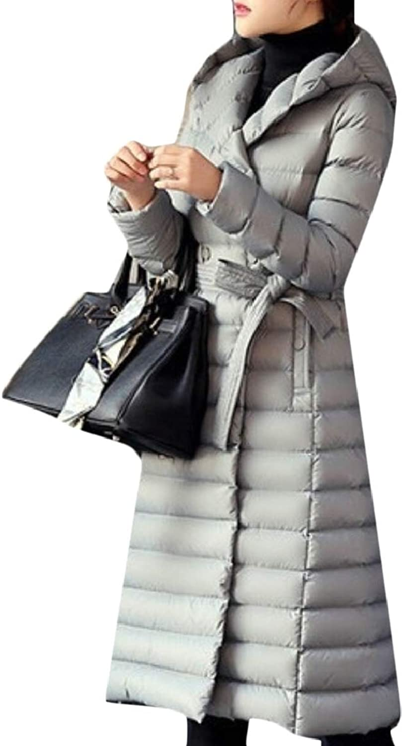 Omniscient Women's Double Breasted Hooded Maxi Down Coat with Belt