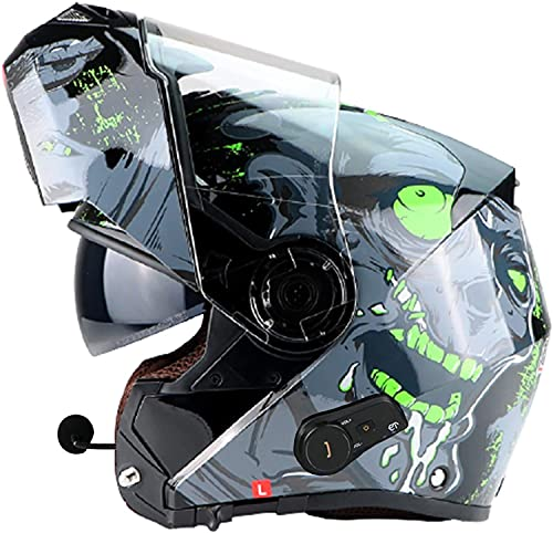 Casco De Motocicleta De Cara Completa Para Adultos, Casco De Motocicleta Bluetooth Con Visera Solar Antivaho Doble, Casco De Motocicleta Con Auricular Bluetooth Integrado, Certificación ECE K,XL