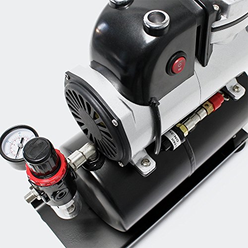 Compresor de aerografía AF189A con tanque de aire, separador de agua y reductor de presión