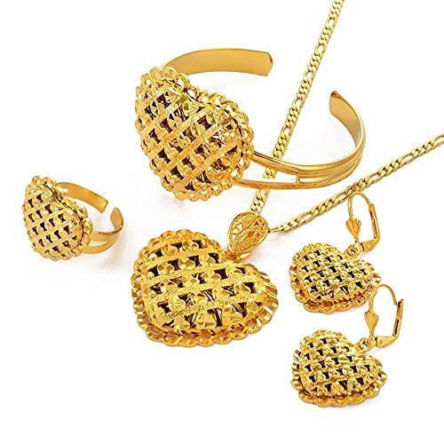 Joyería africana Conjuntos de Etiopía en forma de corazón Collar de color dorado Pendientes de boda Pulsera Anillo Joyería de novia árabe de Dubai # 119106-Gold_con la posibilidad de resizing_60cm
