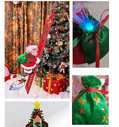 A/A Electric Climbing Santa, Christmas Creative Decoration with Music and LED Light, Climbing Ladder Santa Plush Doll Xmas Toy Hanging Ornament Tree Holiday Party Home Door Wall Decoration