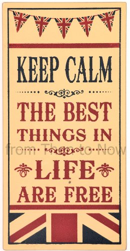 Large en bois style rétro Inscription Keep Calm and Carry On/Union Jack-The Best Things In Life sont libres