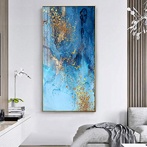 N / A Golden Bird Abstract Painting Mural Living Room Art Painting Navia Poster Family Picture Decoration Frameless 50x100CM