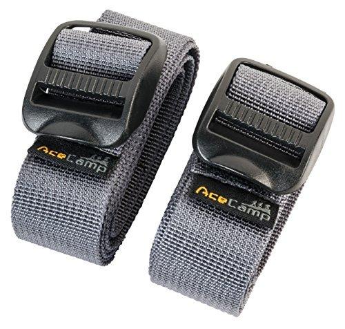 AceCamp Sangle Hoverkart I Sangle Velcro I Scratch Hoverkart I 25mm polyvalente I Sangles Overkart I Kart Overboard (2 pièces), gris, 120 cm