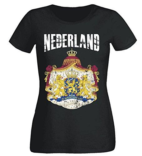 Aprom-Sports dames T-shirt Nederland WK 2018 .- Vintage Destroy SC Wapen D01