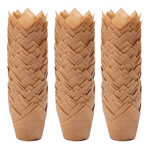 Ruisita 150 Pieces Mini Baking Cups Tulip Baking Cups Cupcake Liners Muffin Liners for Wedding, Birthday, Christmas, Baby Shower Parties (Natural)