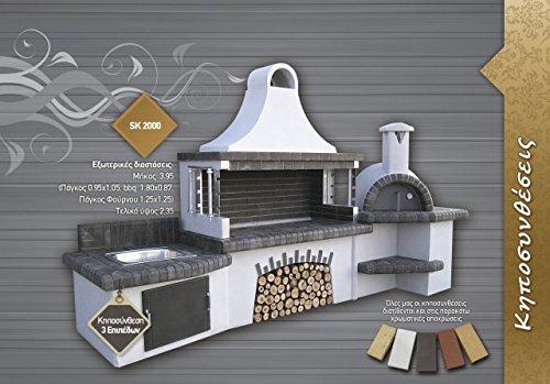 Steingrill Olymp Grillkamin mit Ofen und Waschbecken grau