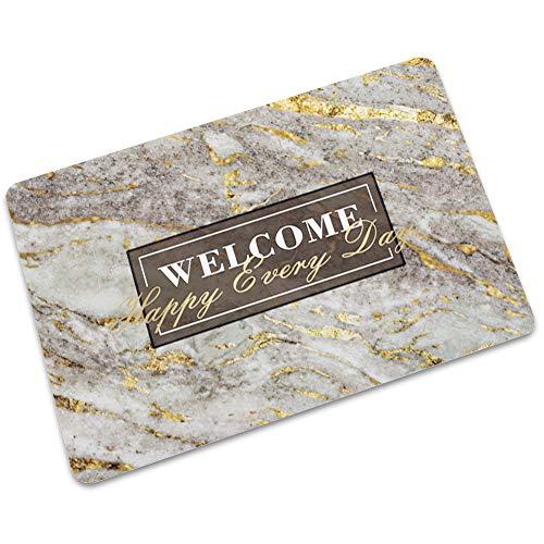 LJJJZS 'Bienvenido mármol textura felpudo de goma antideslizante puerta al aire libre alfombra de cocina DLSW-02