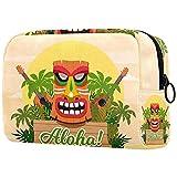 Neceser de Viaje para cosméticos Bolsa de Maquillaje con Cierre de Cremallera portátil Diaria,Plantas Hawaianas y ukeleles