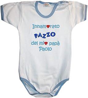 """Zigozago Body Manica Corta Fatto a Mano in Cotone con Scritta""""Innamorato/a Pazzo del Papà"""" personalizzabile"""