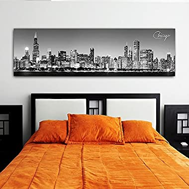 wallsthatspeak Black & White Panoramic Cities 14 X48  Canvas Chicago1 City 14 x 48  Wall Decoration Photography Image Printed on Canvas Stretched & Framed Ready to Hang