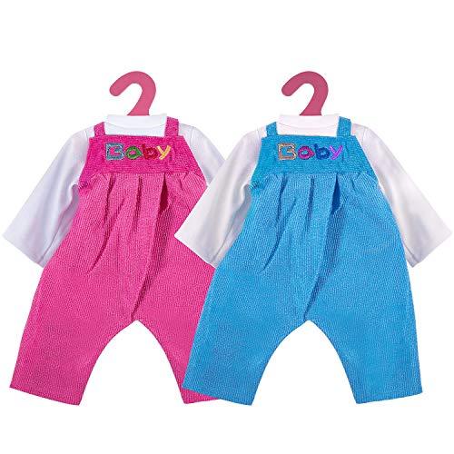ZOEON Puppenkleidung für New Born Baby Doll, Outfits und Trägerhosen für 18