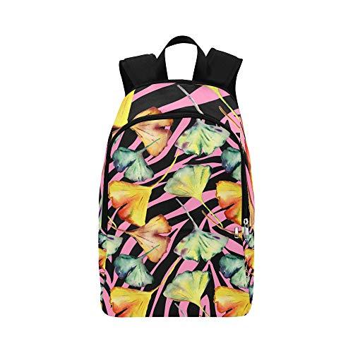 NANA Cute Daypack Natural Yellow Fall Plant Ginkgo Durable Water Resistant Classic Best Backpack Cute Bookbags Day Hike Bag Easy Travel Bag