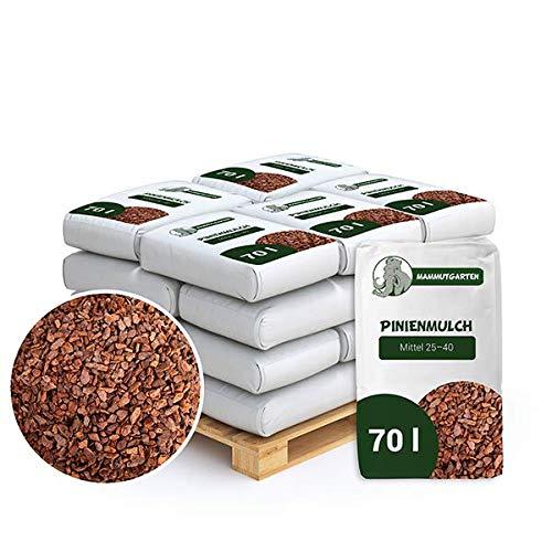 MammutGarten Pinienmulch Pinie Rinde Garten Mittel 25-40 mm 70l Sack x 18 STK (1260 L)