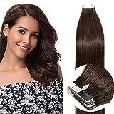 14'(35cm) SEGO Extensiones Adhesivas Pelo Natural 20PCS [#4 Marrón Medio] Cabello Humano 100% Remy Tape in Hair (40g)