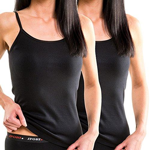 HERMKO Doppelpack 61560 Damen Funktions Trägerhemd Top schnelltrocknend und atmungsaktiv, Farbe:schwarz, Größe:40/42 (M)