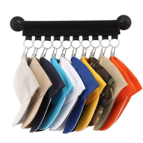 Wall Mount Hat Rack,10 Ball Cap Storage,Closet Hanging Cap Organizer Display, Baseball Cap Rack Holder Hat Hanger Organizer (Including Metal Pole, Black)