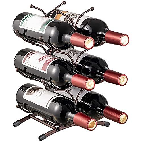 HFZY Estante para botellas de vino de metal para encimera, soporte de almacenamiento de 3 niveles, para 6 botellas, para cocina y despensa, bodega