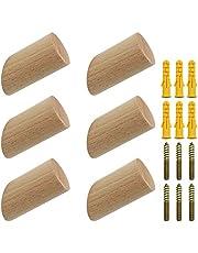 NewZC 6 stuks houten kledinghaken, natuurlijk hout, wandhaken, 3 x 6 cm, beukenhaken, 45 graden, ophanghaak voor kleding, sjaal, hoed, tas, maximale belasting 15 kg