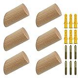 NewZC 6 Stück Holz Kleiderhaken Natürliche Holz Wandhaken 3x6cm Buche Haken 45° Haken Aufhänger...