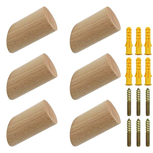 NewZC 6 Stück Holz Kleiderhaken Natürliche Holz Wandhaken 3x6cm Buche Haken 45° Haken Aufhänger für Kleidung Schal Hut Tasche - Maximale Belastung 15 kg