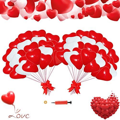 Herzluftballons Rot Weiß,HerzLuftballons Hochzeit,Herzluftballons,Latex Herz Ballon,Herzluftballons für Party ,deko für hochzeit 12 Zoll 100 Stück