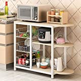 Storage Shelf, Baker's Rack Microwave Oven Stand Storage Rack Organizer Utility Rack Display Storage Caddy Shelf for use in Pantry, Living Room, Kitchen, Garage 31.5 x 13 x 29.5 inches (White)
