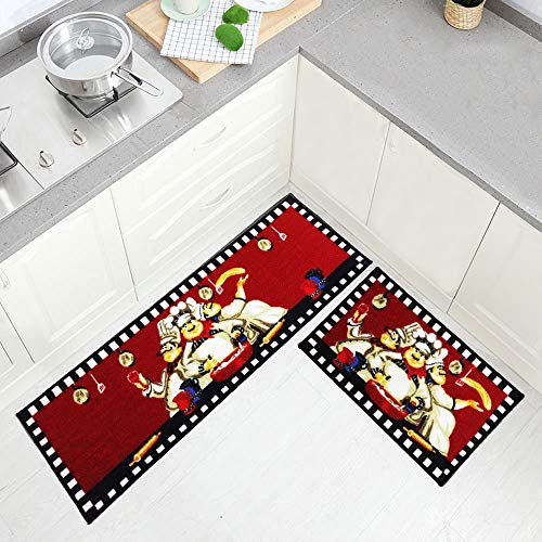 Wolala Home 2pcs Chefs Man Kitchen Rugs for Wood Floors Red Machine Washable Kitchen Rug Sets (1'3x2'0+1'3x4'0, Red)