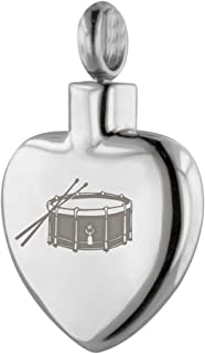 Perfect Memorials Snare Drum Heart Stainless Steel Cremation Jewelry