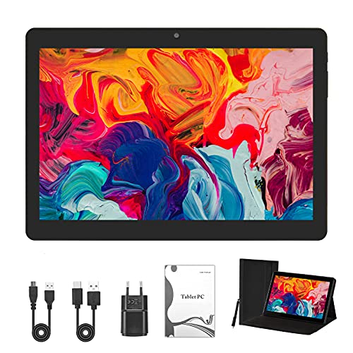 Tablet Android 9.0 de 10 pulgadas con procesador Quad Core de 4 GB de RAM y 64 GB de tablet PC con memoria WiFi, cámara GPS y dos ranuras para tarjetas (negro)
