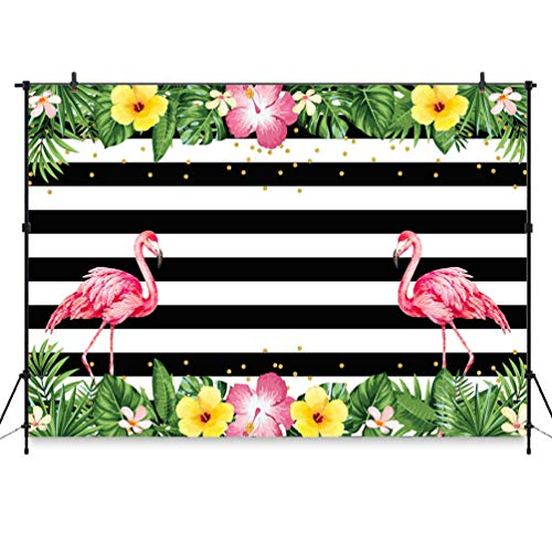 COMOPHOTO Flamingo Party Backdrop Summer Tropical Hawaiian Floral Birthday Party Banner Photography Backdrops 7x5ft Black and White Stripe Flamingo Baby Shower Party Decoration Photo Booth Background