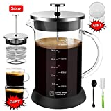 Upgraded French Press Coffee Maker Glass 34 oz, French Coffee Press with Glass handle and non-slip silicone base Precise Scale Easy to Clean Durable Heat Resistant Black/Copper/Silver (Silver, 34oz)