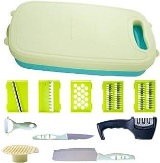 Chopping Cutting Board – Bonus Knife Sharpener - 11 in 1 - Grater | Slicer |Peeler | Finger Protector | Knives | Foldable ...