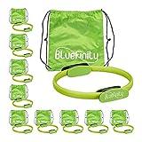 Bluefinity Pilates Ring mit Übungen, Doppelgriff, gepolstert, Widerstandsring Yoga, Fiberglas, Fitness Ring Ø 37cm, grün